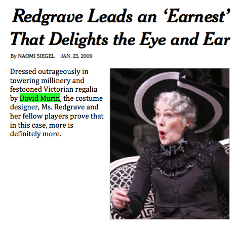 David Murin dresses Miss Lynn Redgrave in The Importance of Being Earnest at the Paper Mill Playhouse
