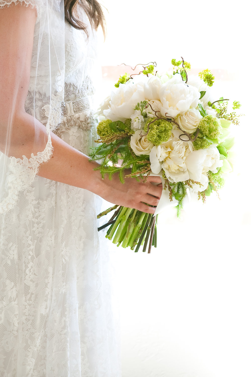 Lush green and white bouquet by Parie Designs