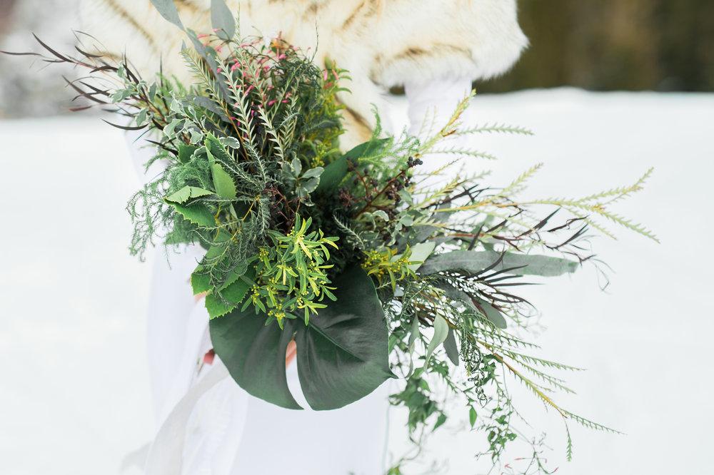 Green bridal bouquet Parie designs green wedding, green bouquet featuring Grevillea, Jasmine, seeded Eucalyptus, Elkhorn Moss, Assorted Chilean Ferns