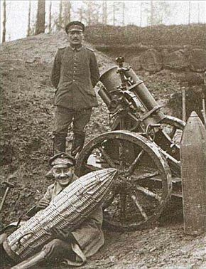 German trench mortar and crew with 'sausage'