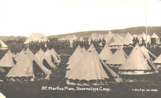 Shorncliffe Camp - It was probably more a matter of wooden huts than tents when Nicholls arrived.