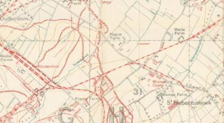 Micmac camp is marked in red just above and to the right of the '31'.