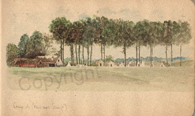 A contemporary watercolour of Camp A/Micmac camp.