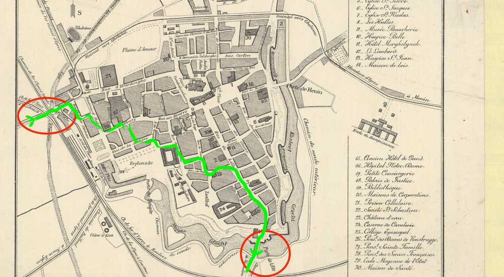 Map of Ypres, showing where Fraser entered the city and where he left it (the Lille gate at the south of the city); the route in between those two points is speculative but consistent with his description of avoiding the square.