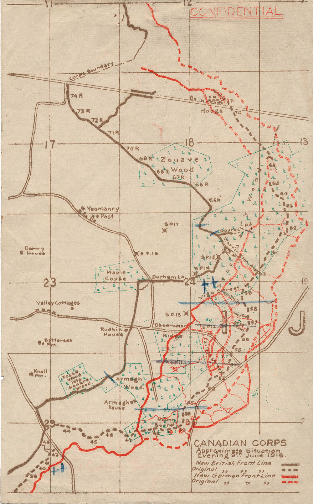 The 31st occupied the brown line from 74R on the Menin Road (running across map at an angle near top) to S.P. (Strong Point) 14. The two blue slashes between 65R and Gourock Rd. appear to be MG positions described in the War Diary. Nicholls was likely in one of those positions on the 13th. Some trenches aren't numbered on this map. 64R, 63R, 62R etc. would follow the brown line south from 65r to the intersection with Durham Lane. R stands for 'reserve'.