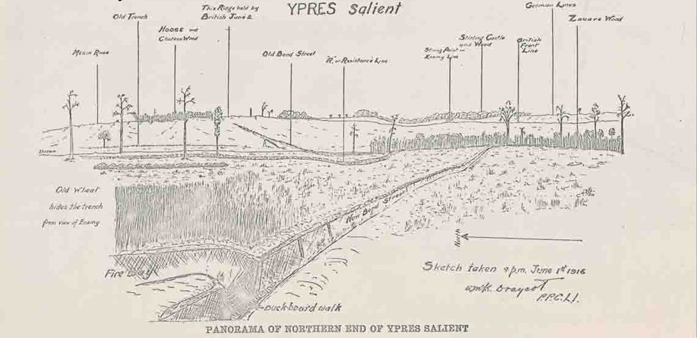 View toward the front lines on the high ground between Hooge and Sanctuary Wood, with HIll 62 just out of Frame on the right. As seen from roughly grid square 17 on the map below. By the time Nicholls arrived, the British Front Line marked on the map had been taken by the Germans.