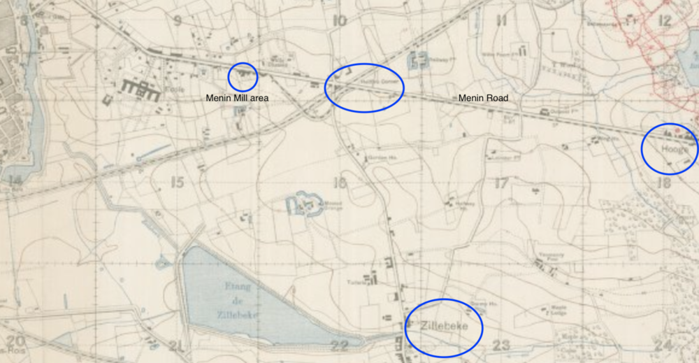 The first stage of Nicholls' evacuation: from Trench 63 he would have moved almost due west, through Zouave Wood and carrying on till he met the road between Zillebeke and Hellfire Corner. He would have followed the road north before cutting northwest toward the Menin Mill Area.