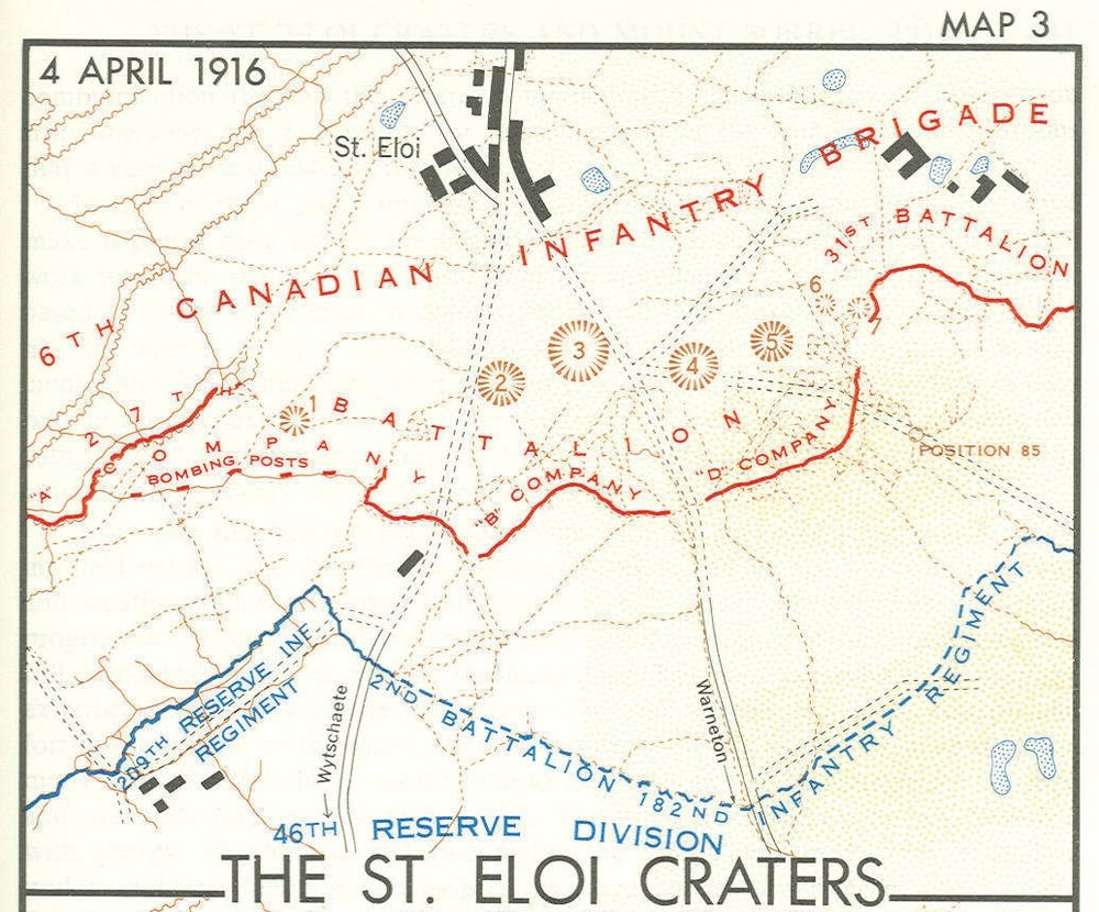 The situation when the 31st Battalion entered St. Eloi on March 4th. At this point J.H. Nicholls and D Company were in the supports behind the front line (marked in red). They would have been by the cluster of buildings and ponds behind this line and stretching off the map to the right.
