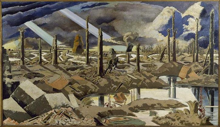 Paul Nash, 'The Menin Road' (1917) . The 31st was stationed south of this road (i.e. the near side).