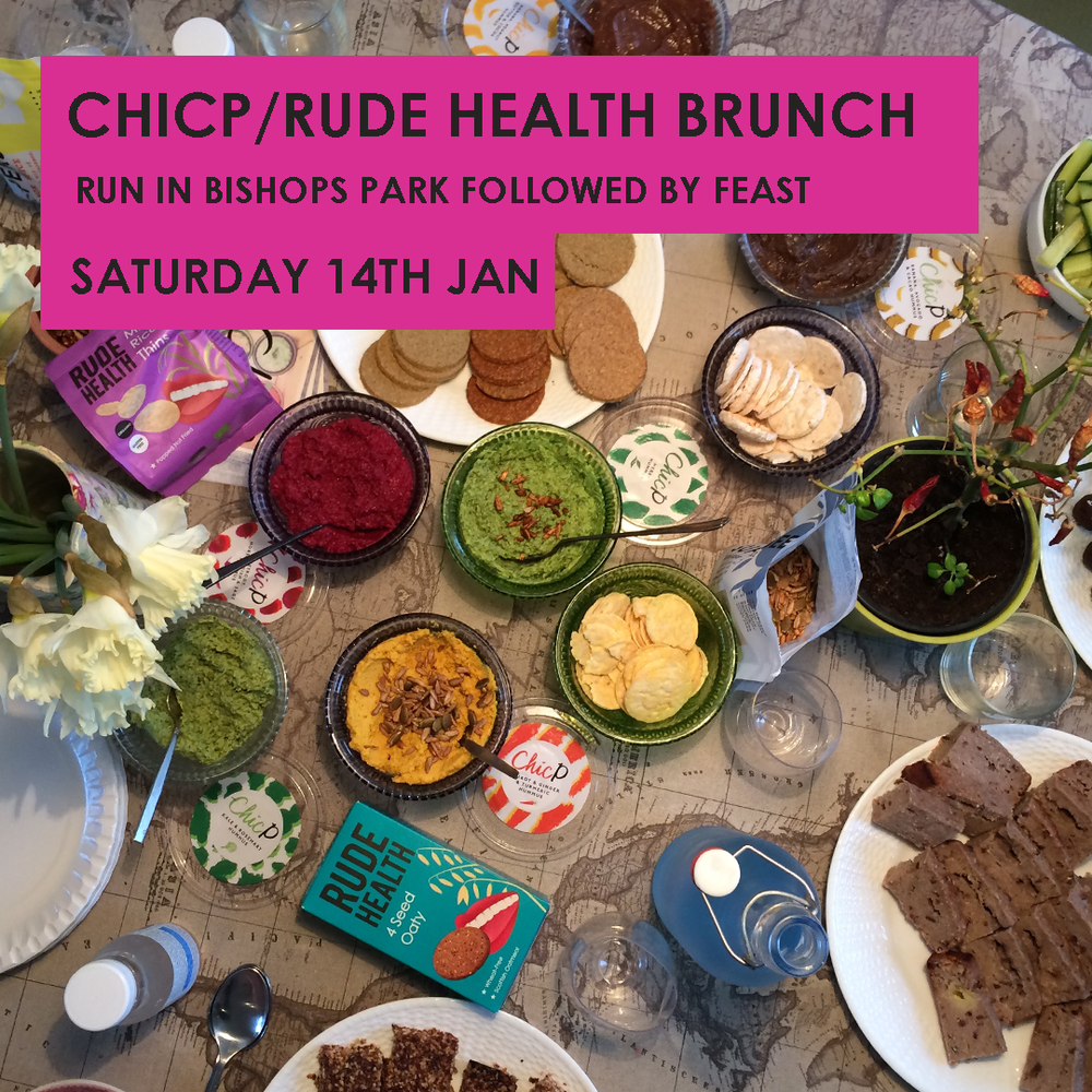 Join us for our famous ChicP & Rudehealth River run followed by a delicious feast to re fuel. There'll be all sorts of goodies, smoothies and surplus bakery goods to have with the hummus as well as all the delicious Rude Health Products. To book your place, email hannah@chicp.co.uk Tickets just £7 Look forward to seeing you there!