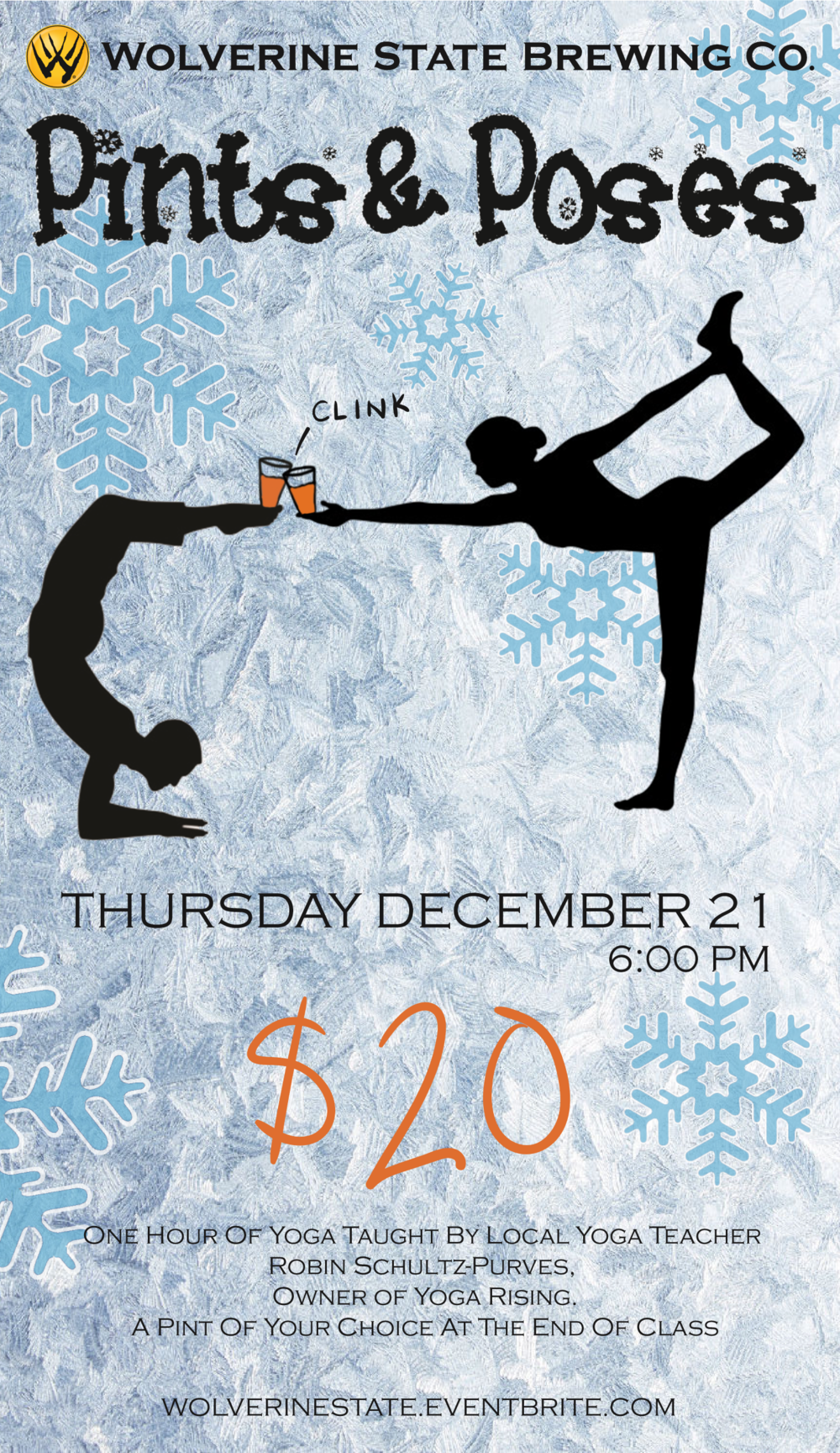 Relax from the holiday stress with this is an hour-long, all-levels vinyasa class. Tickets are $20 apiece and include the yoga session and a pint of your choice at the end of class. Class will be led by Robin Schultz-Purves, a local yoga instructor who has led several Pints and Poses classes at Wolverine! These classes do sell out pretty quickly, so make sure to grab your tickets while they're available.
