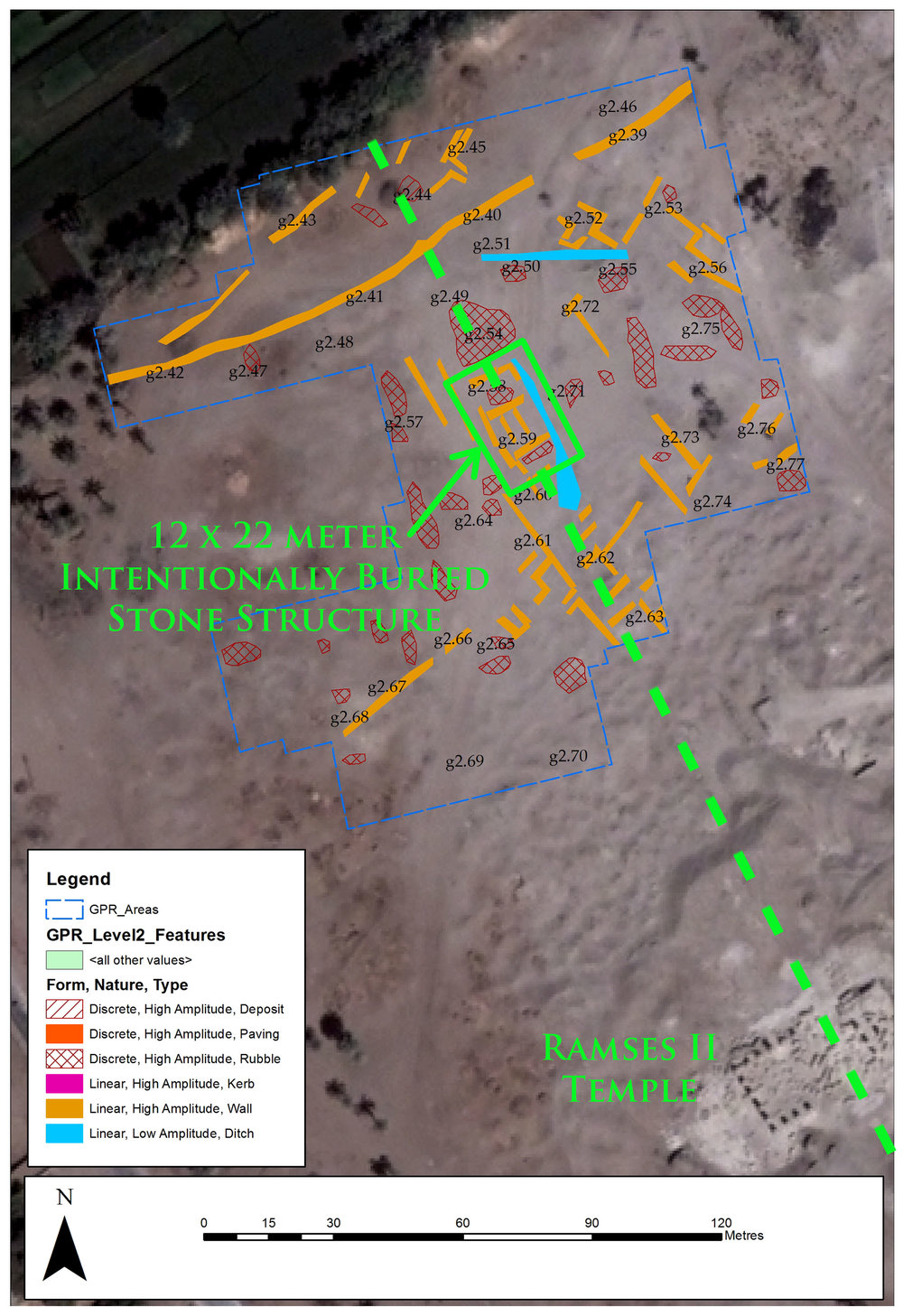 Annotated ground penetrating radar results for Area 2.