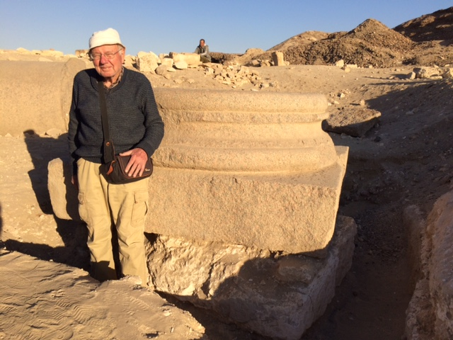 Peter Grossmann with the intact column foundation.