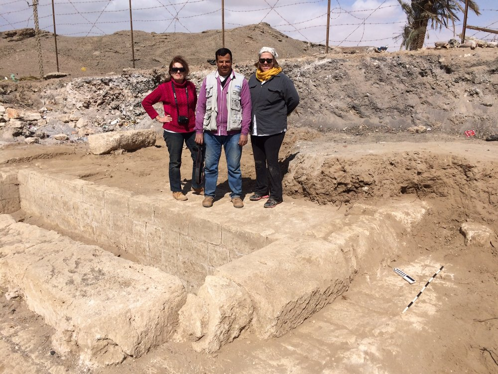 From left: Pascale, Hamada and Erin standing atop a newly uncovered part of the building beneath the lime kiln (in background).
