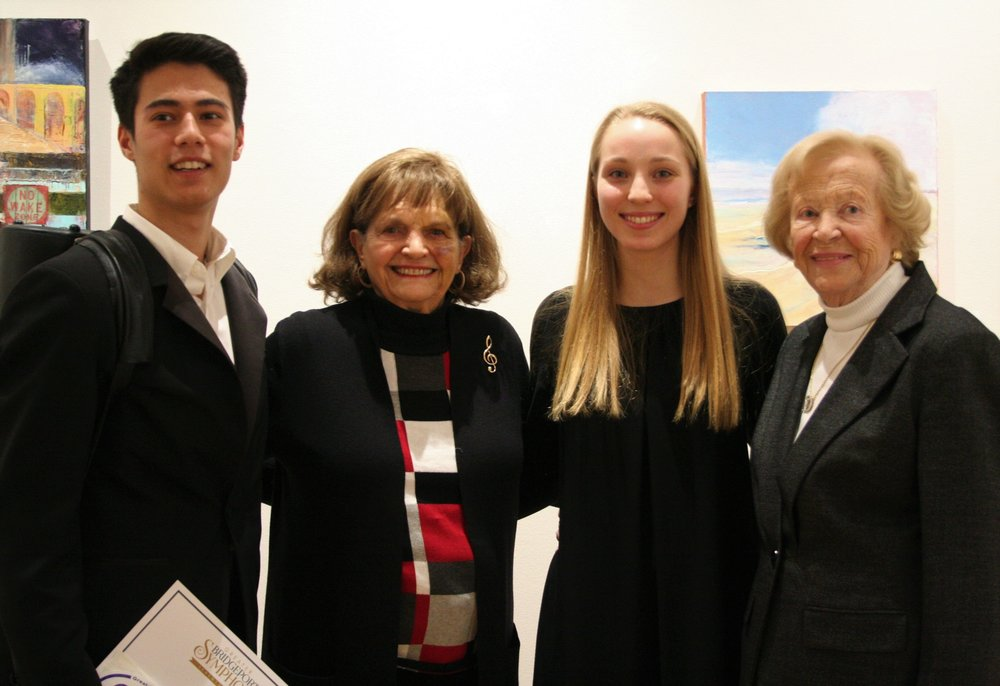 irst Prize winner Max Moon of Fairfield and Second Prize winner Kate Wegener of Easton are congratulated by Mrs. Jean Moffitt, GBS President, and Mrs. Doris Harrington, Chairman of the GBS Board of Trustees. Third Prize winner Eric Hirsch was unavailable for the photo -- already off to another competition!