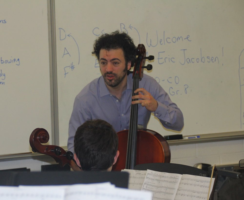 Eric displays cello technique at FWMS, Fairfield