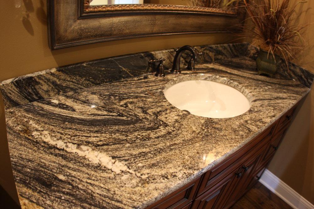 Granite vanity with undermount sink