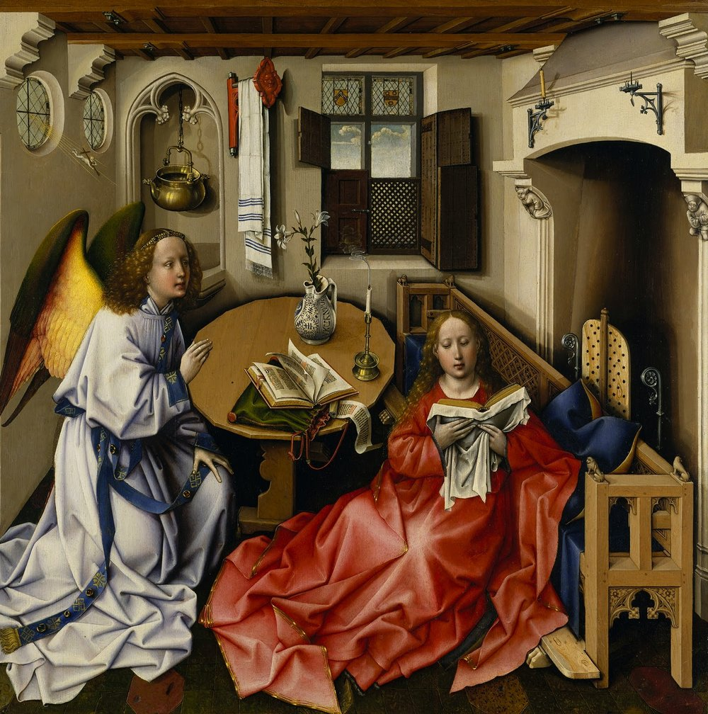 Robert Campin  's c. 1420s   Annunciation   panel, (   Mérode Altarpiece   ),   The Cloisters  , New York