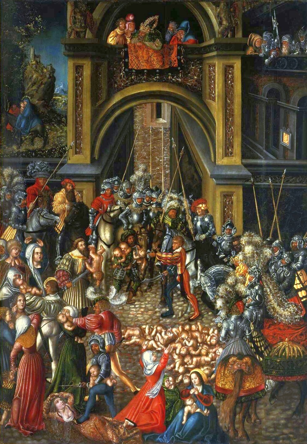 Lucas Cranach the Elder.  The Massacre of the Innocents.  circa 1515, oil and tempera on lime, National Museum in Warsaw, Poland.