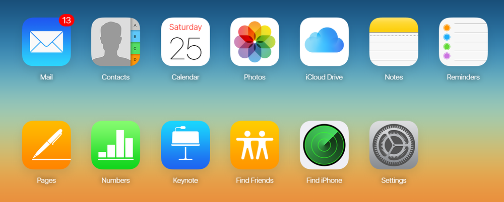 The iCloud.com dashboard