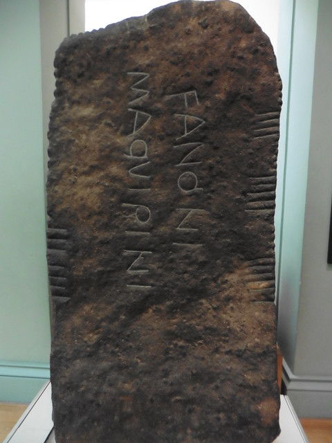 Ogam inscription on a stone seen at the British Museum. Photo by Terry Freedman