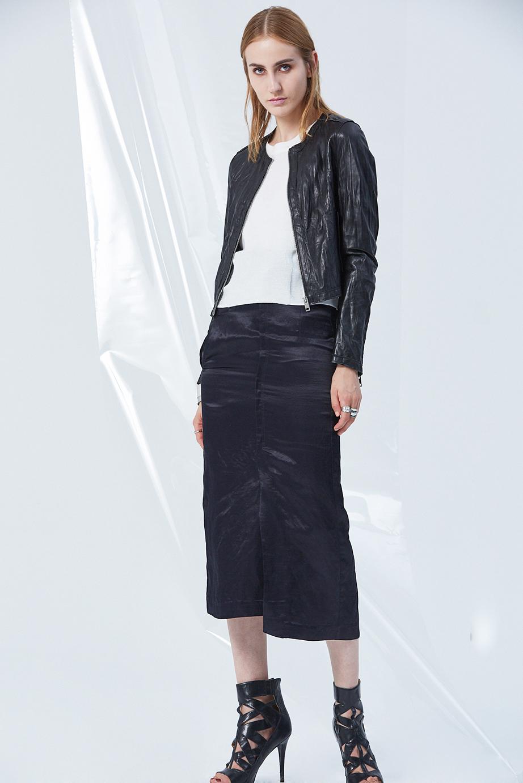 Leather Jacket GC61425 | Top GC06385 | Skirt GC03261