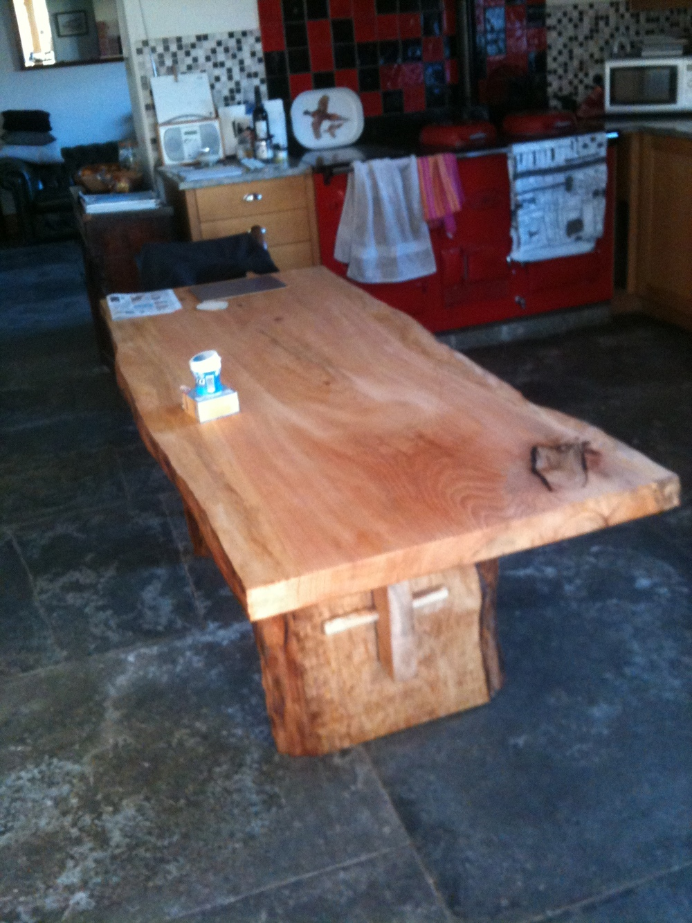 Rustic table made from a single slab of cedar