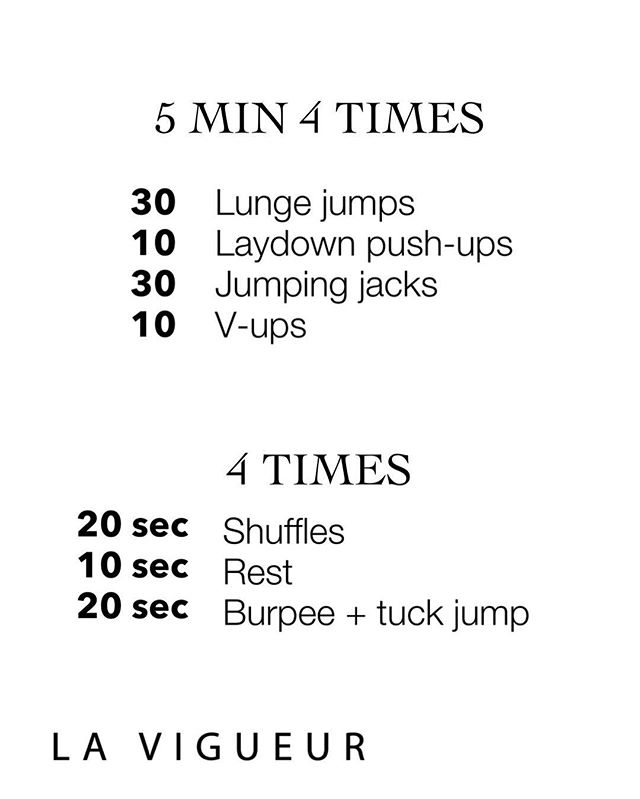 Let's get going. Set the clock for 5 minute go through the circuit as many times as you can. Starting with 30 lunge jumps, hitting 90 degrees in each leg alternating legs. Moving into lay down push-ups, slow and control key is to stay as stiff as a board and body hits the ground at the same time ( no worm action, save that for the dance floor). Dive into 30 jumping jacks as fast as you can to get your heart rate up!(15 per leg) Finish with core 10 V ups, laying flat on the ground move into a V with your body reaching you finger to toes meeting in the middle. Repeat 4 times with 90 second rest in-between. Finish with a Tabata 20 second on 10 seconds off 4x through. Total 4 min cardio. Ready, Set...GO! #fit #fitness #fit #fitnessmodel #blogger #windycity #chicago #sweat #circuit #hiit #tabata #cardio #health #lift #squat #strong #healthy