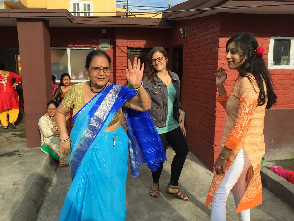 "Ashmita's grandmother clearly ""killin' it"" on the dance floor and me looking like an idiot, ha."