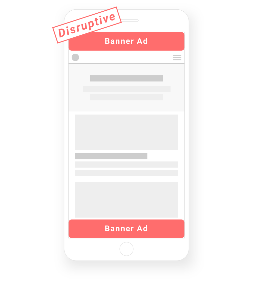 """Banner advertising disrupts content. - Click-through rates have never been lower, as over 400 million devices have ad-blocking installed and consumers become increasingly """"banner-blind""""."""