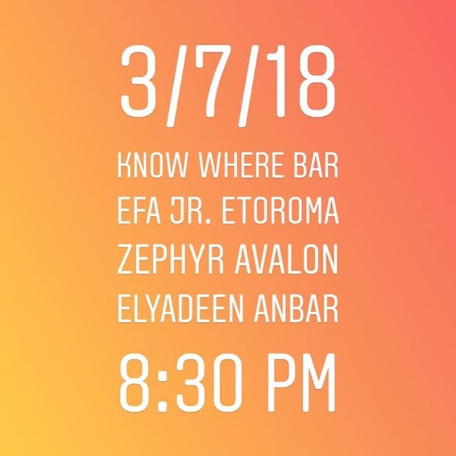 Tonight at know where bar with @efajrmusic @zephyravalon_ 8:30 pm!