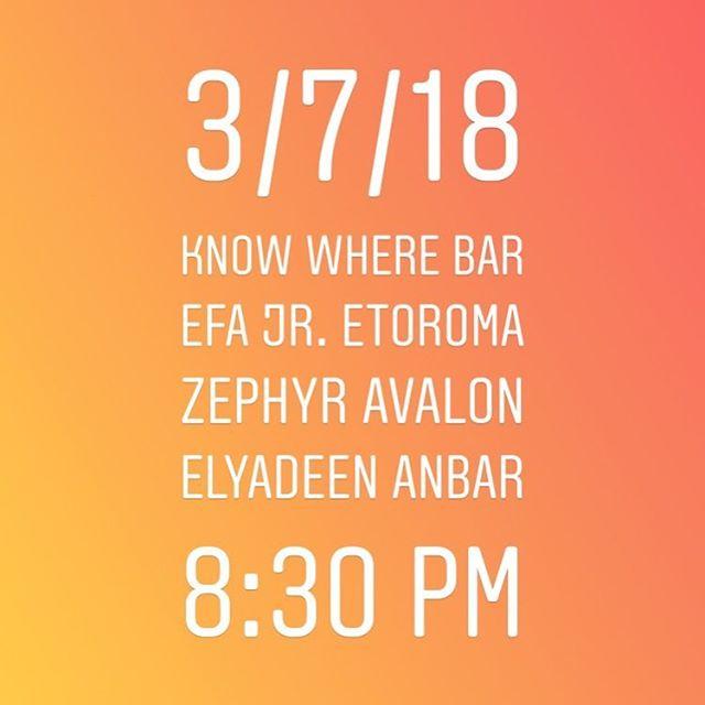 Tonight at know where bar with @efajrmusic @zephyravalon_ 8:30 pm!
