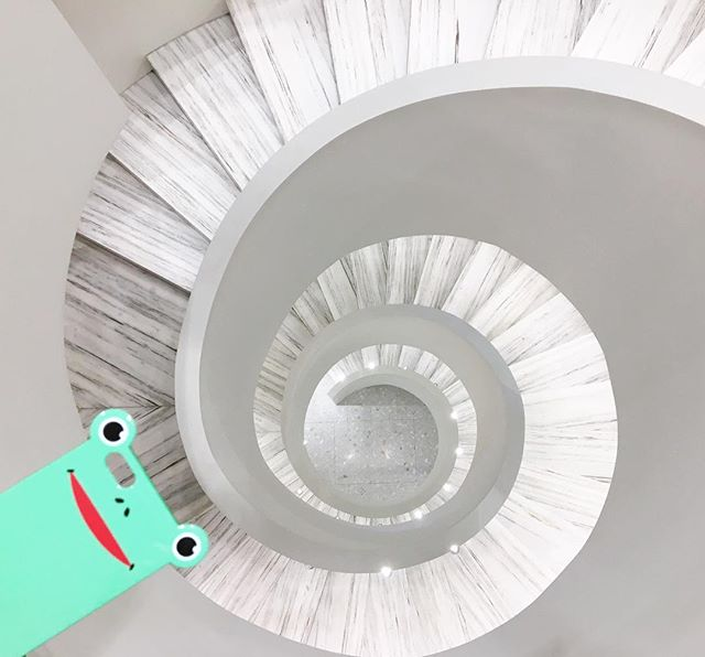Saturday spiral shopping 🌪🐸 #anicase #frog #iphonecase #shop #andreeputman #barneys #spiralstaircase #chelsea #nyc #weekend  http://anicase.com/shop/frog