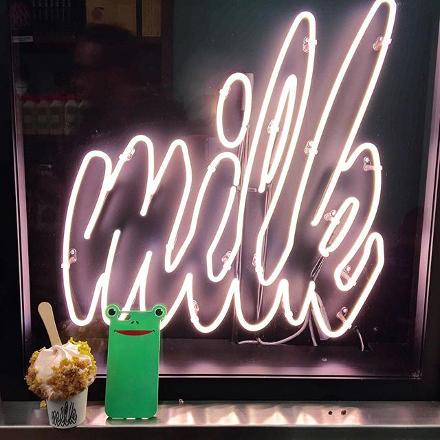 Can't beat $1 cereal milk soft serve at #milkbarchelsea opening day to end the week! 🍼🍦 @milkbarstore  http://anicase.com/shop/frog 🐸🐸🐸