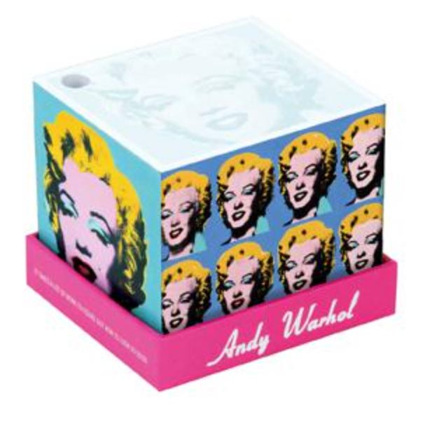 A memo block with the Marilyn Monroe signature painting sold by the Andy Warhol Museum Store.
