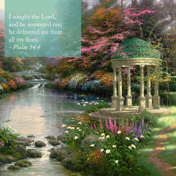 Inspiration quotes added to the paintings of Thomas Kinkade