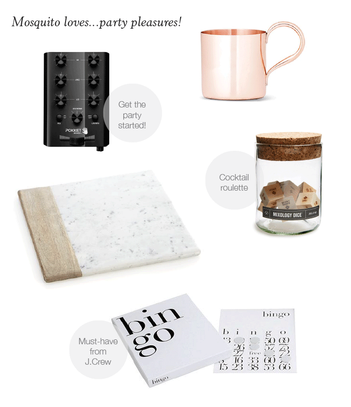 PARTY PLEASURES: pocket mixer, Moscow mule mug, mixology dice, marble & wood platter, West Emory-designed bingo game for J.Crew