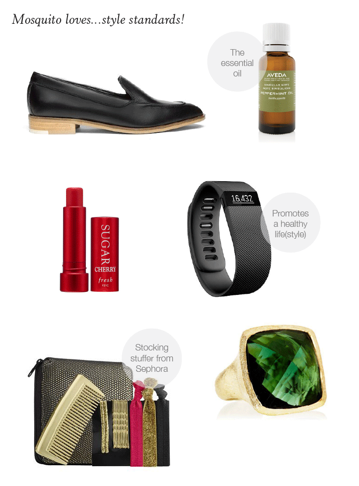 STYLE STANDARDS: Everlane loafer, Aveda essential oils, Fresh lip balm, fitbit charge, cocktail ring, Mosquito-designed holiday hair kit for Sephora