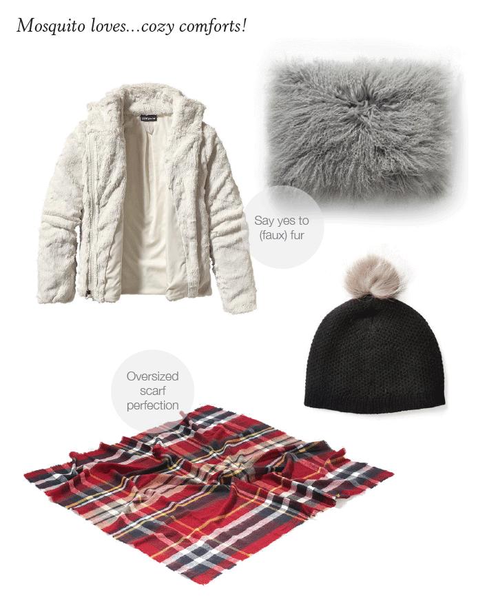 COZY COMFORTS:Patagonia Pelage jacket,Mongolian lamb hair pillow,fur pom hat,Zara oversized scarf