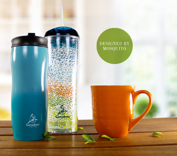 Caribou Coffee spring 2014 drinkware designed by Mosquito Inc