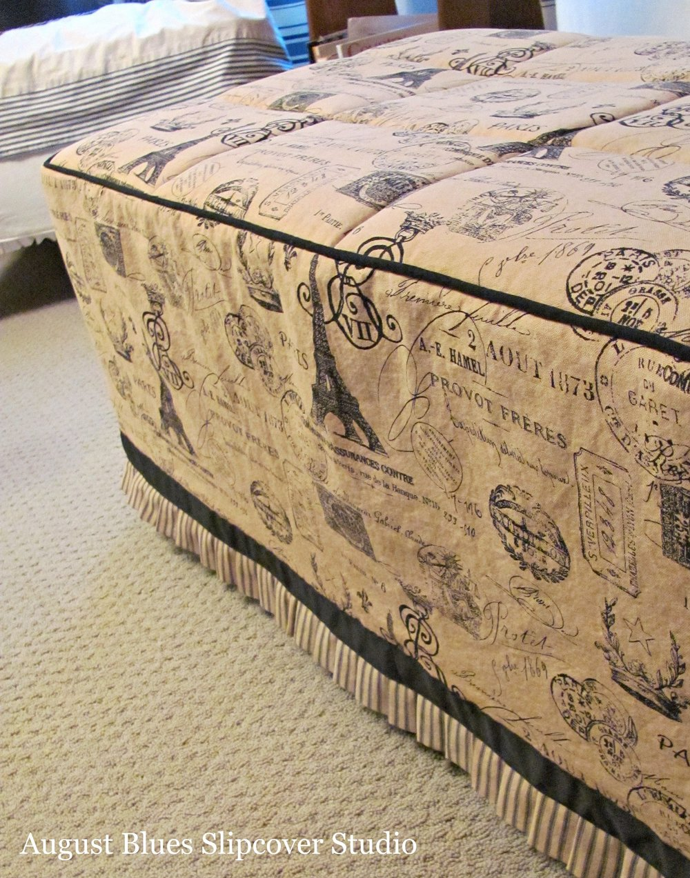 August Blues Slipcover Studio - Ottoman side