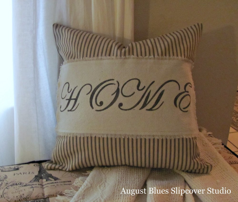 "August Blues Slipcover Studio - ""Home"" pillow"