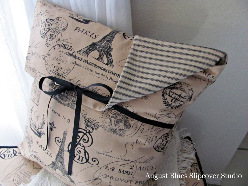 August Blues Slipcover Studio - Pillow with single tie, ticking inside