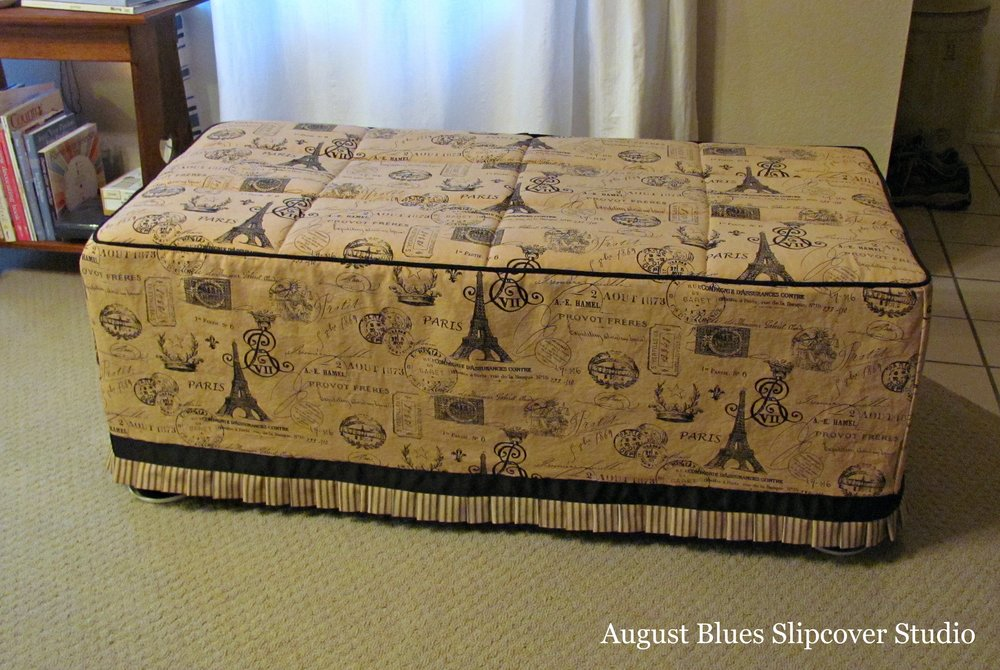 August Blues Slipcover Studio - Ottoman after