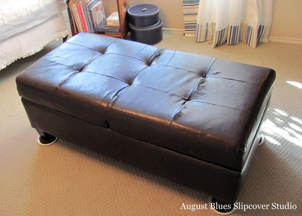 August Blues Slipcover Studio - Ottoman before