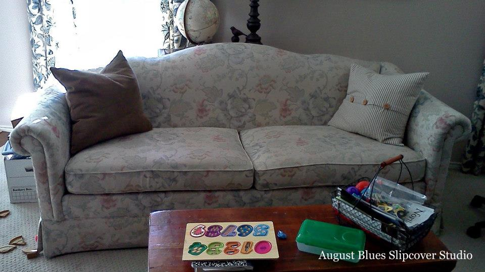 August Blues - Floral Couch Before