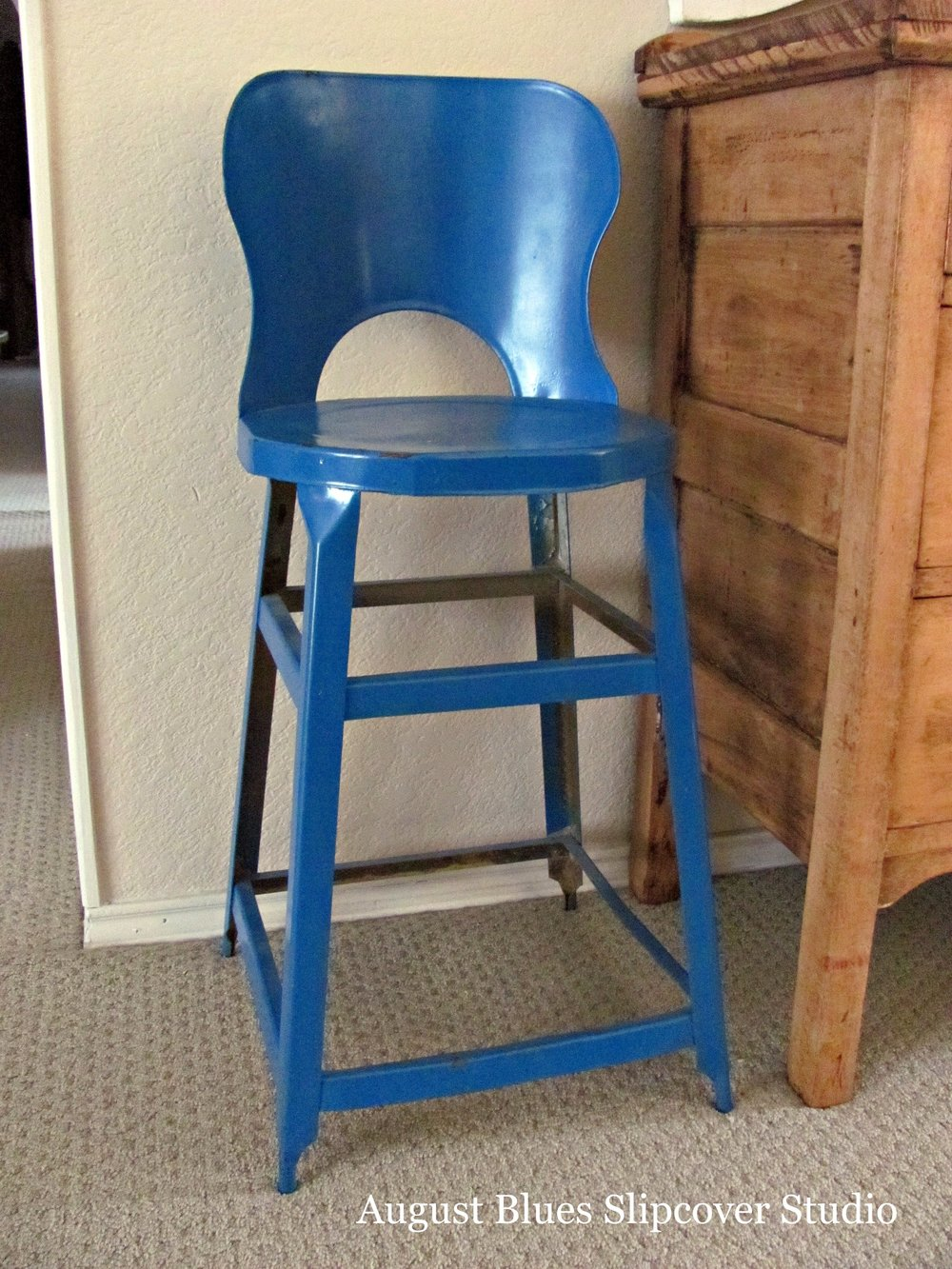 August Blues - Vintage Stool