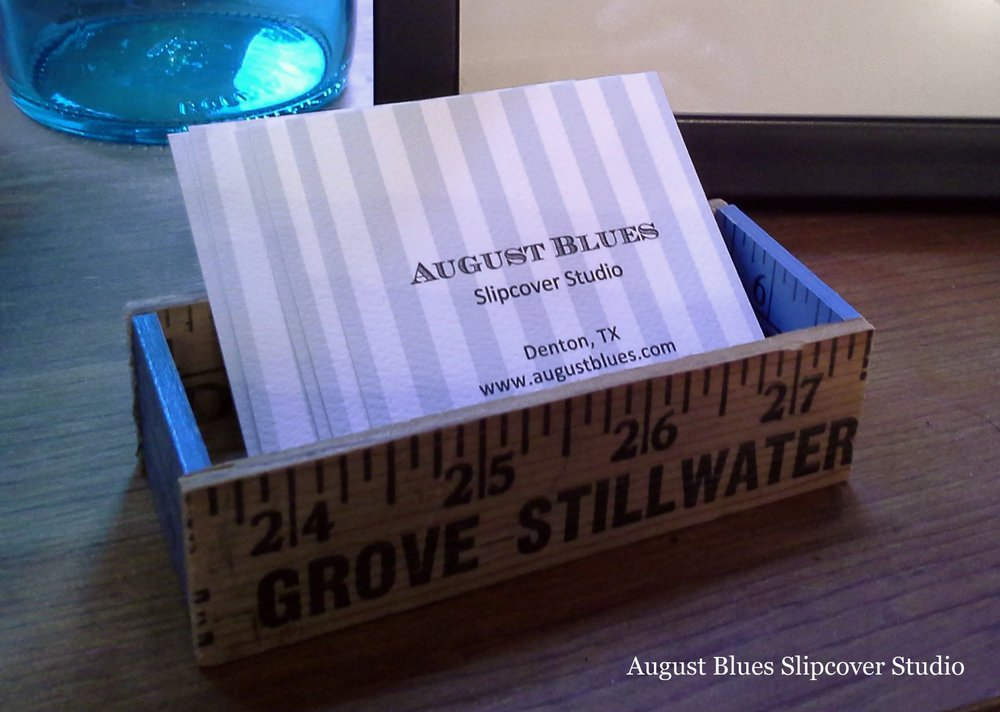 August Blues - yardstick business card holder, the Dime Store