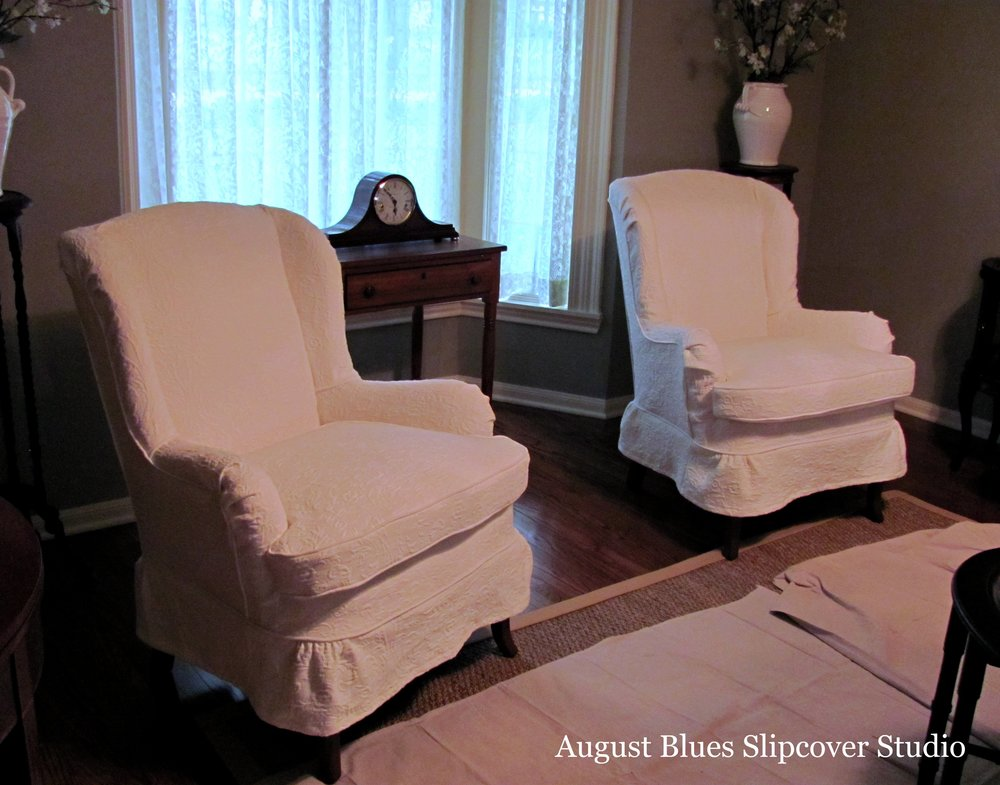 August Blues - Pair of Wing Chairs