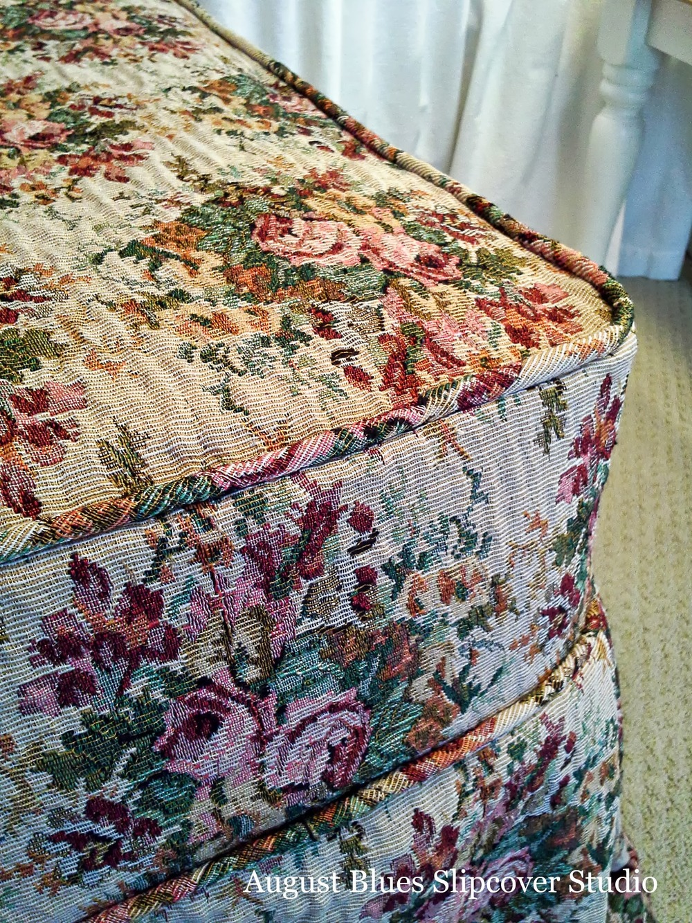 August Blues - Floral Ottoman